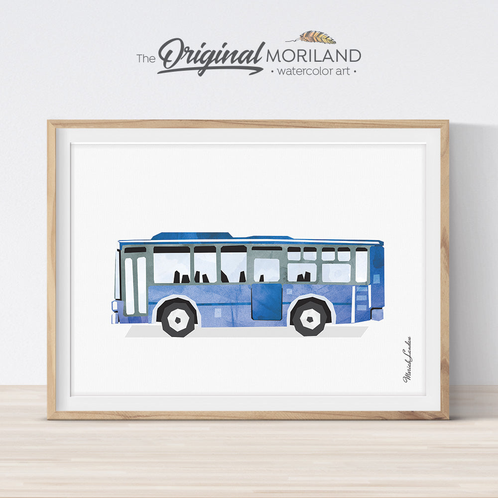 Bus wall art for boys bedroom decor