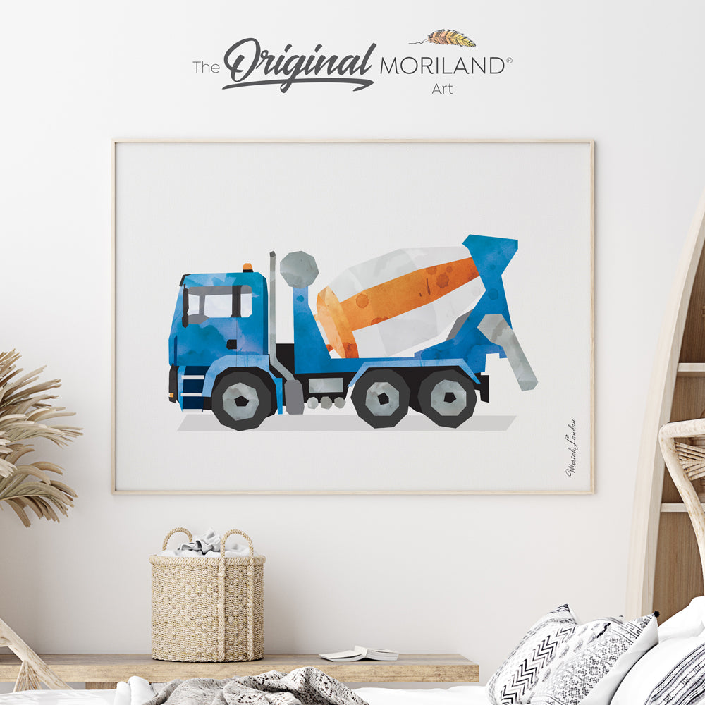 Watercolor cement mixer truck wall art for boy room decor and nursery by MORILAND