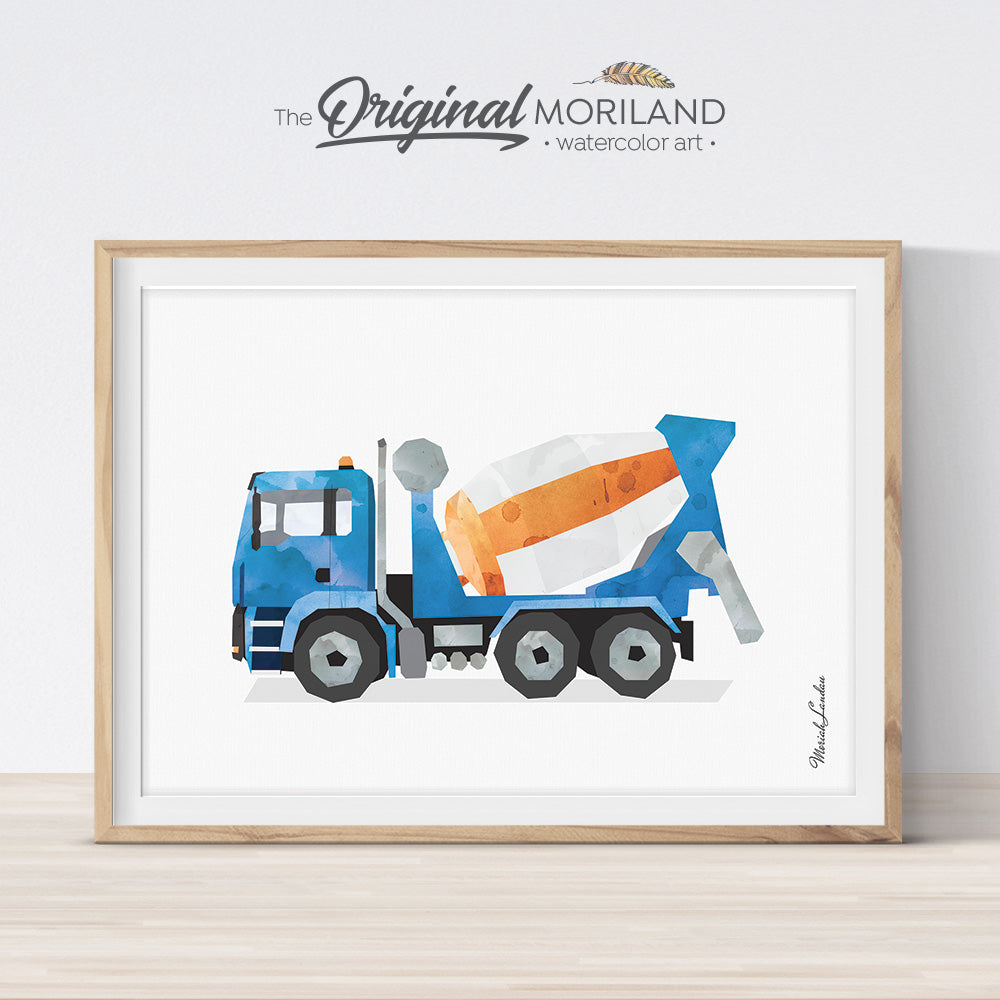 Cement mixer watercolor wall art print for boy room and nursery decor