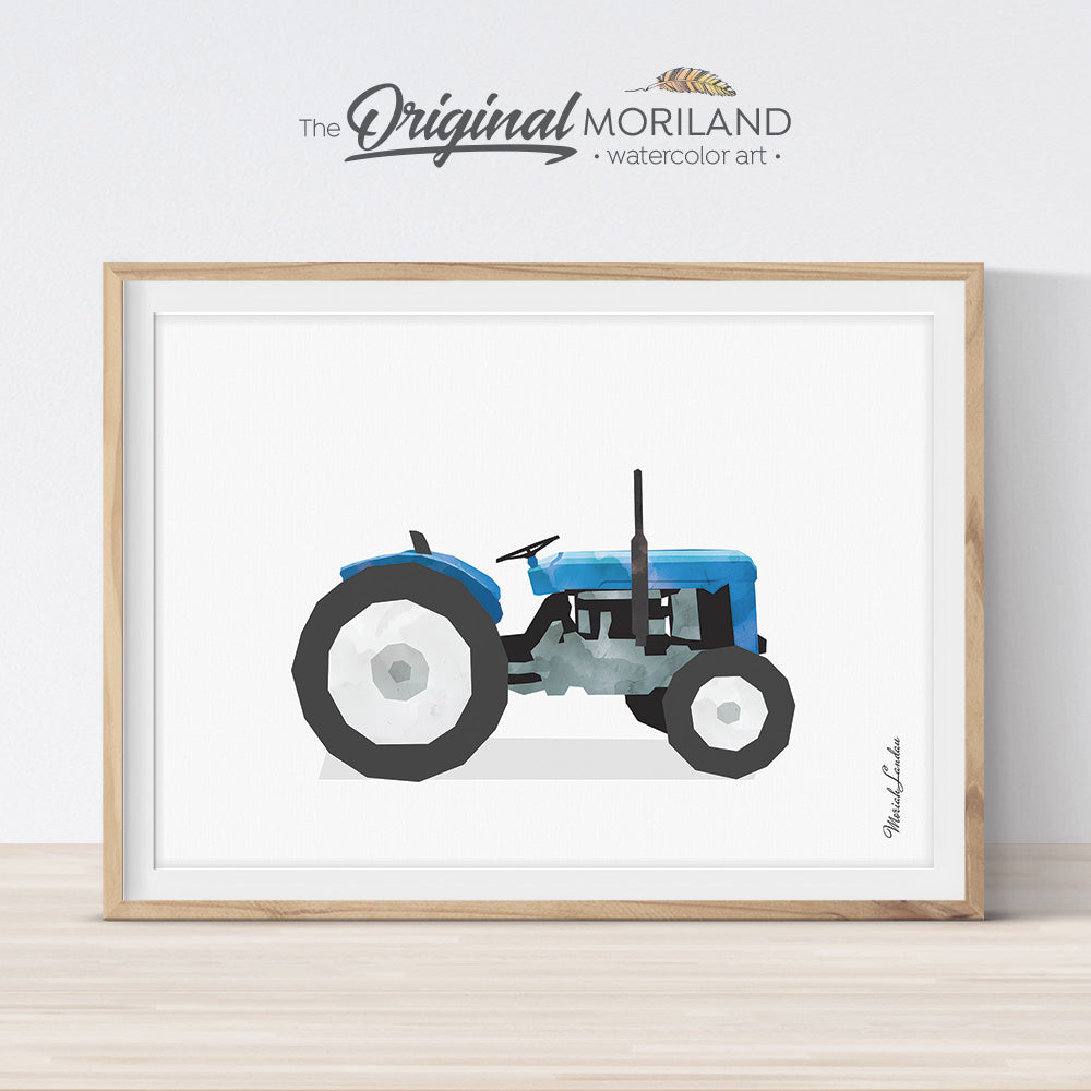 Blue Open Tractor Wall Art for Boy Farm Theme Bedroom Decor