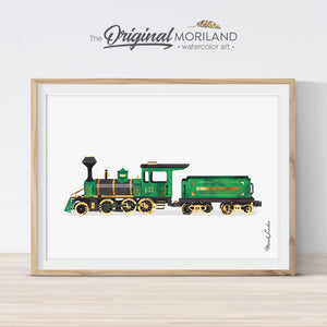 Steam locomotive watercolor wall art print for nursery and boys bedroom decor