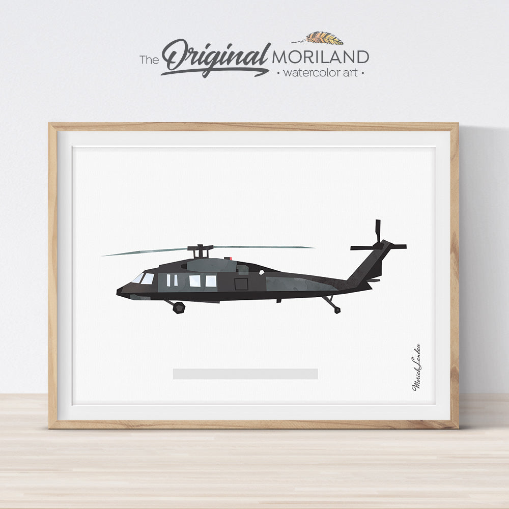 UH-60 Black Hawk helicopter art Print wall art