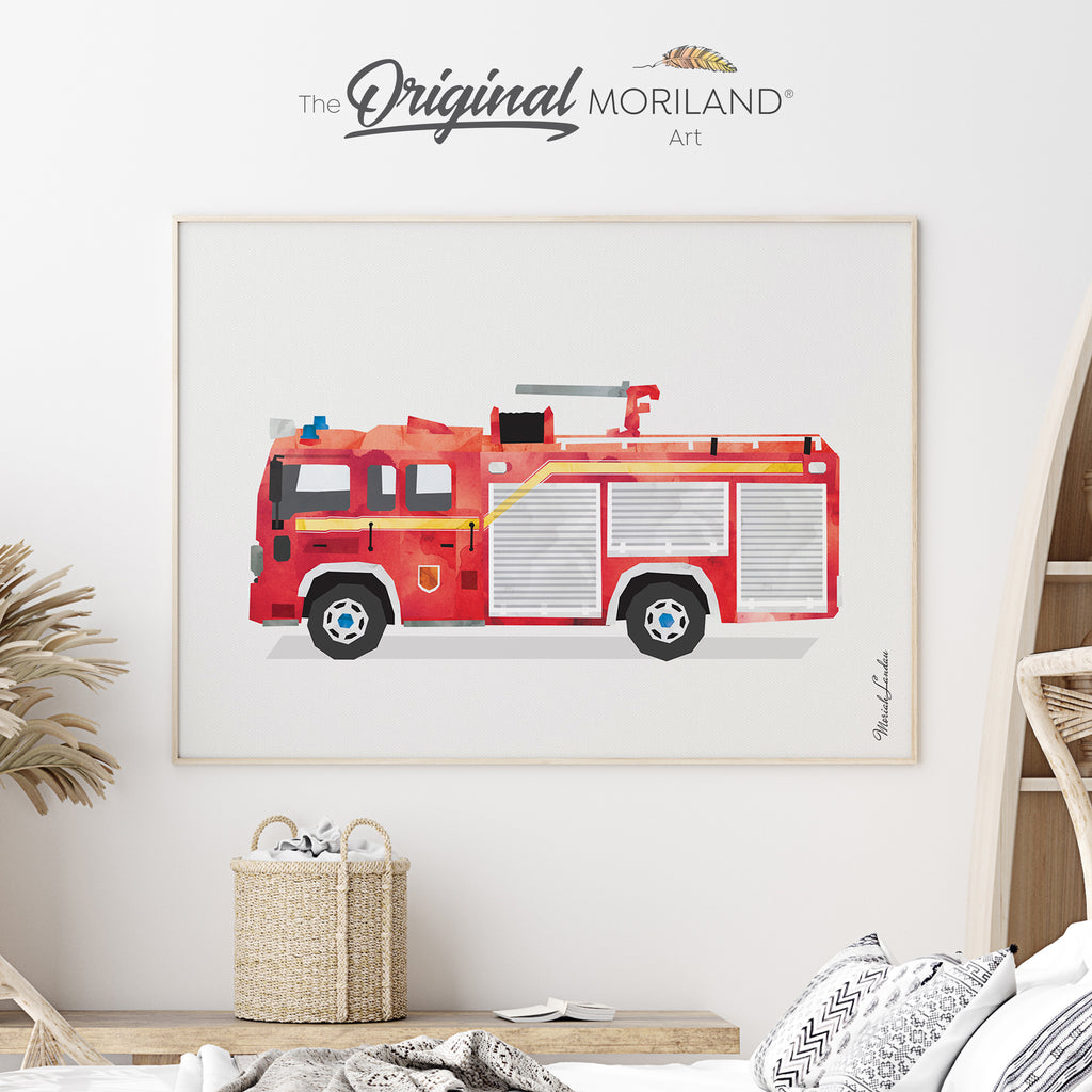 Fire Truck, Fire Engine Fine Art Print for Boy Room Decor