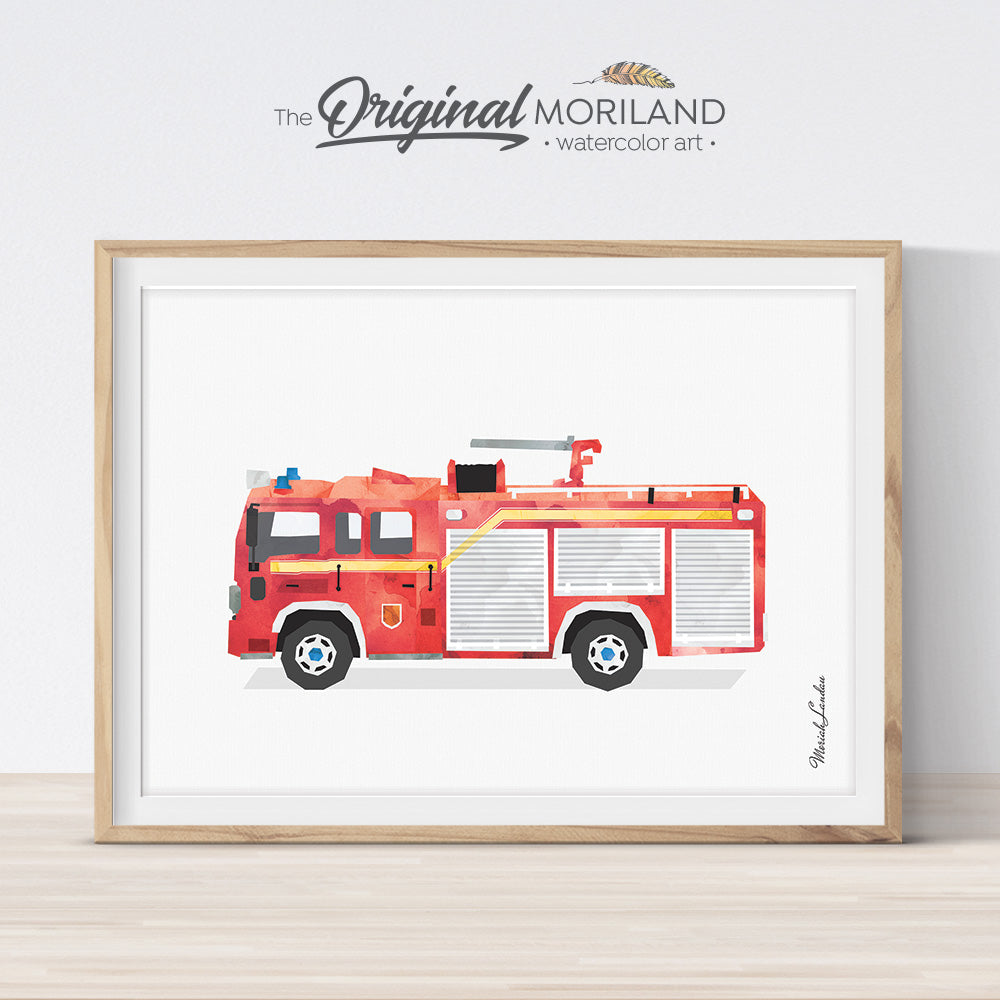 Firetruck Print, Fire Truck Printable, Fire Engine Print, Transportation Decor, Boy Bedroom Art, Toddler Boy Room Decor, Firetruck Decor