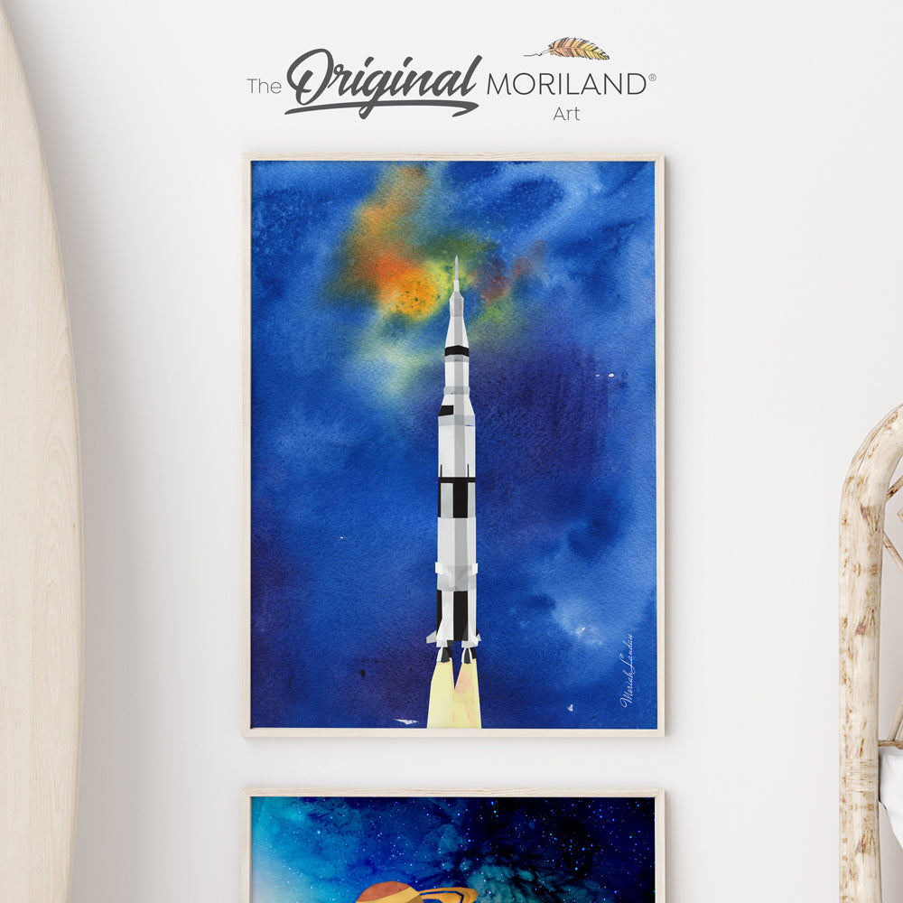 Watercolor Spacecraft Rocket Fine Art Paper Print by MORILAND