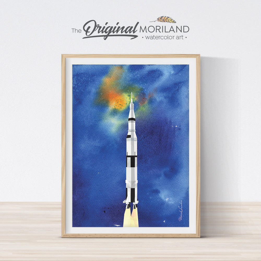 watercolor space rocket spacecraft wall art print for kids room and nursery decor