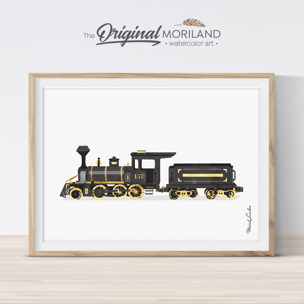 Black Watercolor Train Wall Art for Kids Room Decor