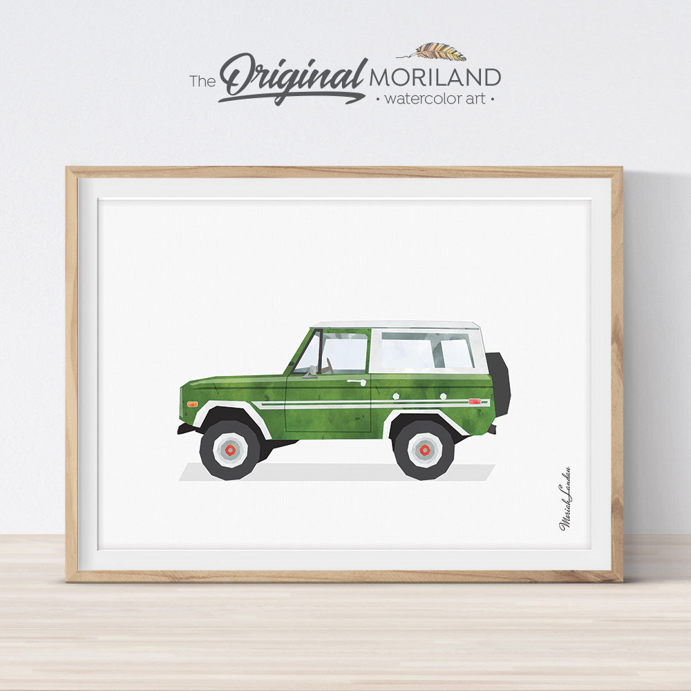 watercolor SUV car print for boy room decor by MORILAND