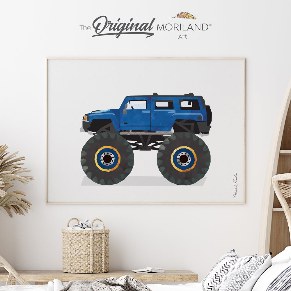 monster truck car art print poster for big boy room decor by MORILAND