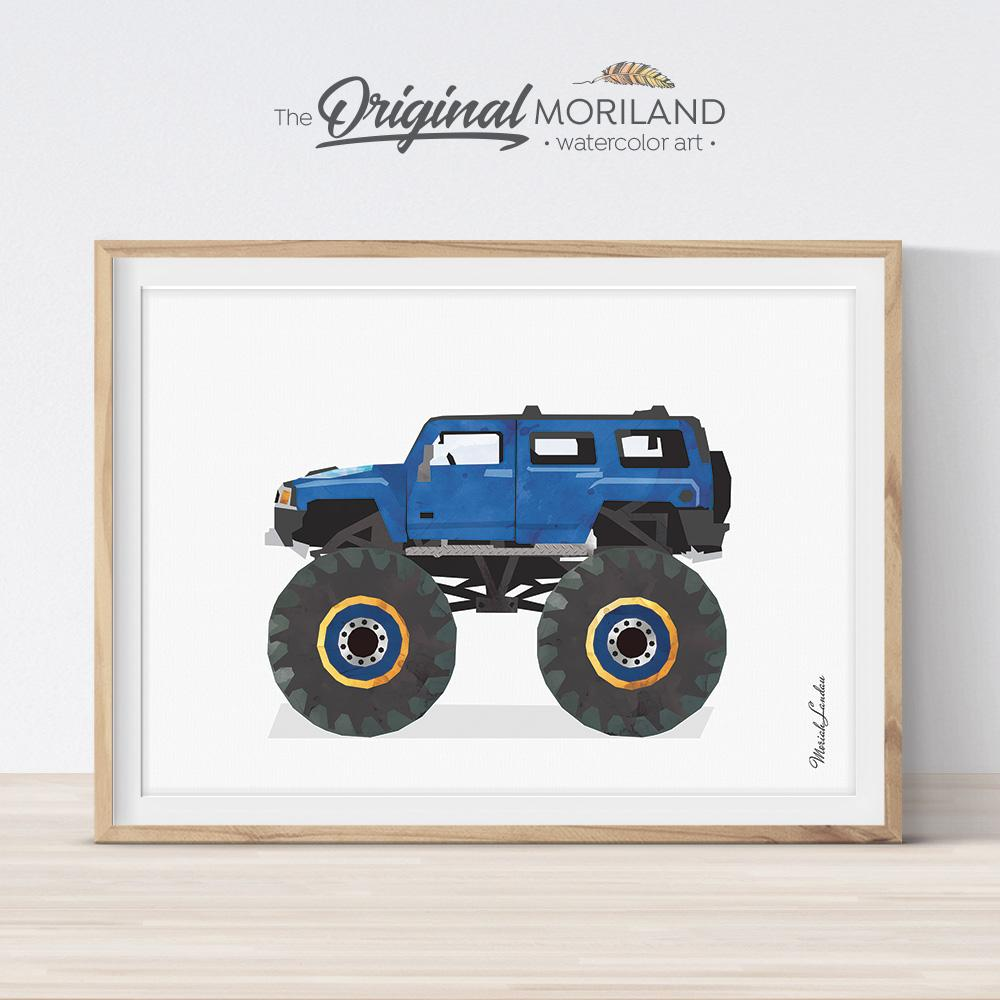 Fun printable wall art for kids room - monster truck