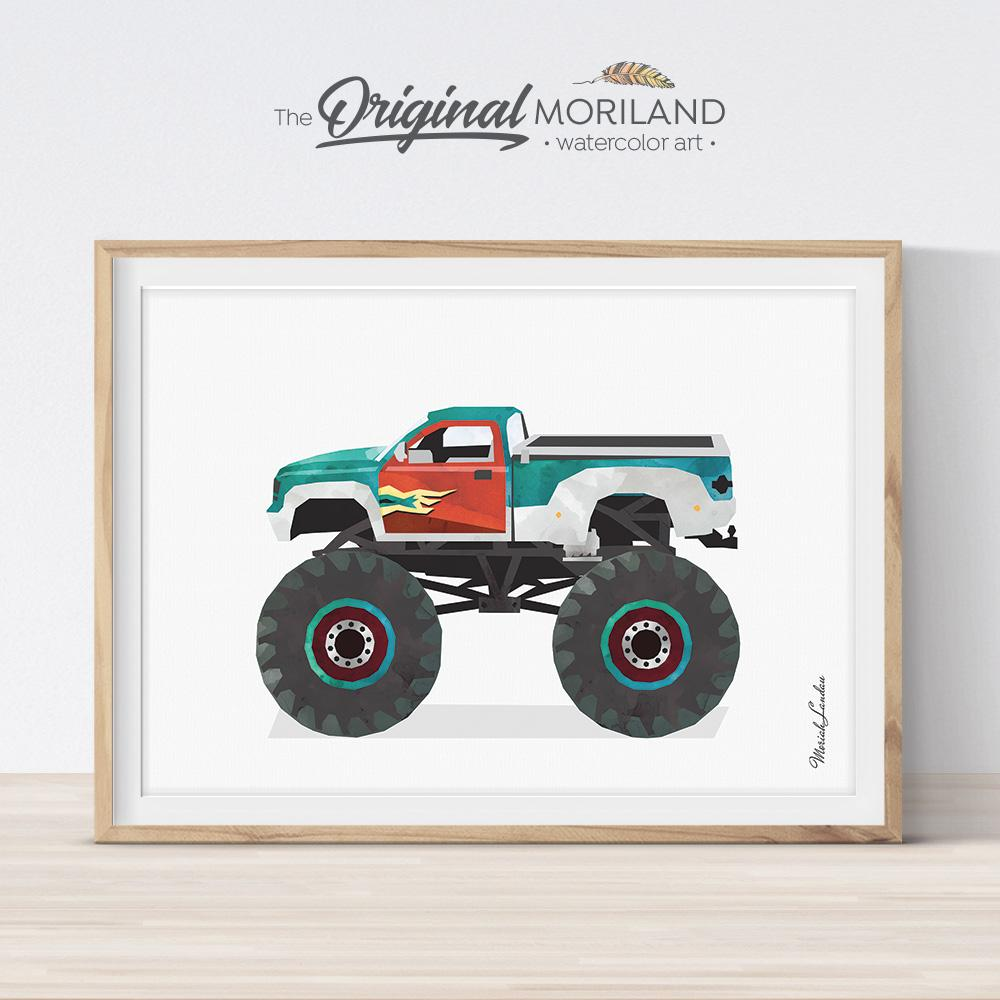 monster truck car drawing for boy bedroom decor by MORILAND