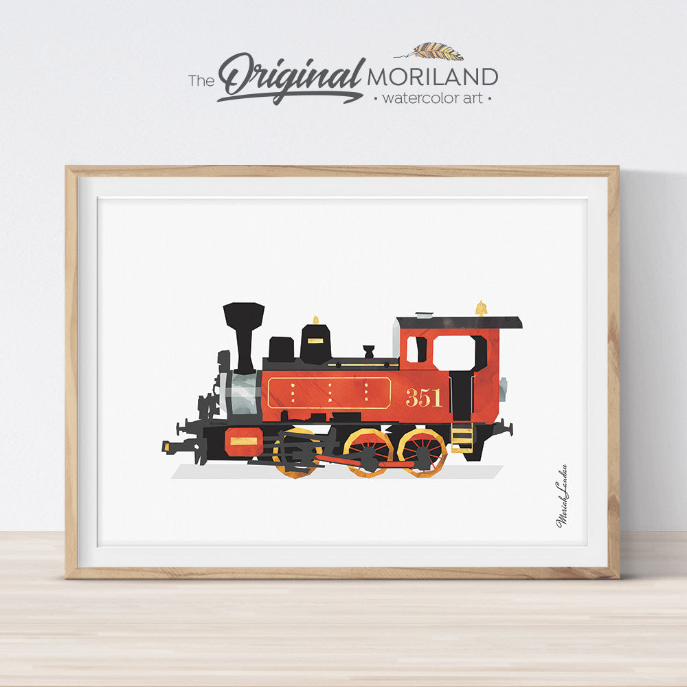 Red Steam Locomotive Train Watercolor Wall Art for Boys Bedroom and Playroom Decor