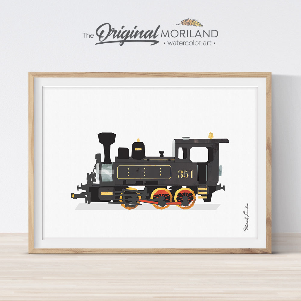 Steam Locomotive Print, Train Printable, Nursery Print, Transportation Decor, Playroom Prints, Train Decor, Steam Engine Wall Decor