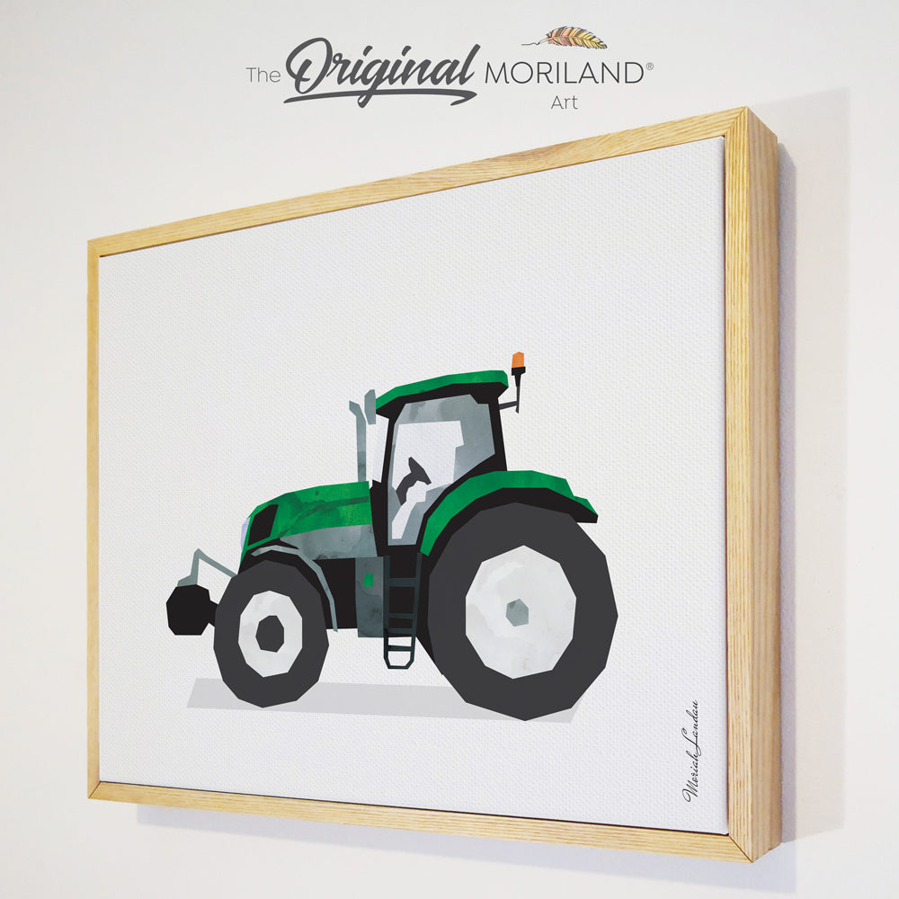 watercolor green tractor framed canvas print for toddler boy room decor