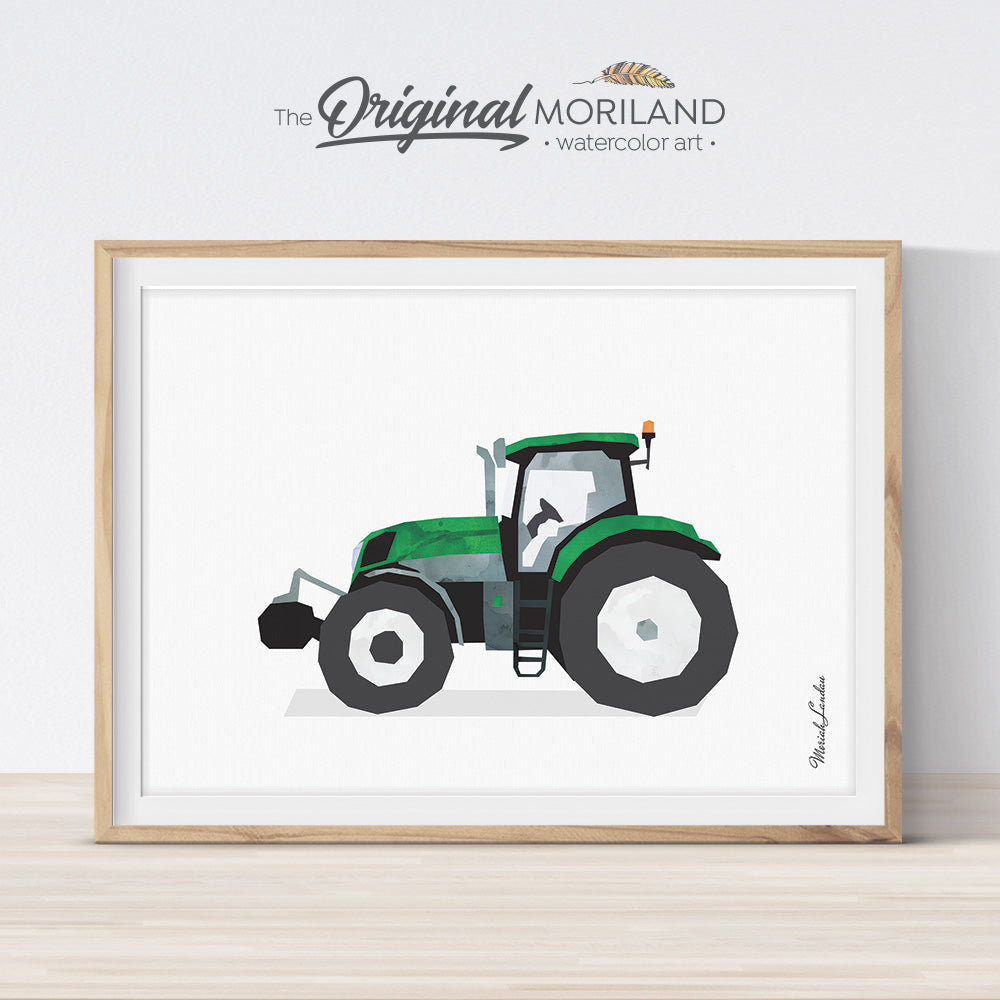 Tractor Print, Tractor Nursery, Transportation Wall Art, Toddler Boy Room Decor, Tractor Printable, Vehicle Decor, Farmhouse Kids Room Decor