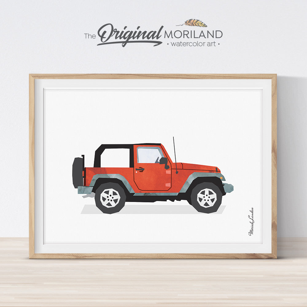 watercolor Classic Red Off-Road SUV vehicle wall art print for big boy and girl bedroom decor - by MORILAND