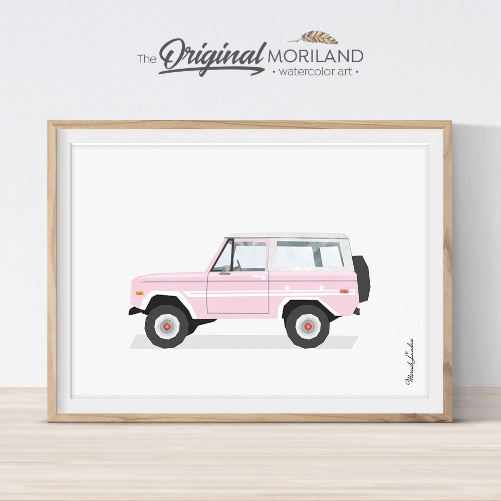 Pink Bronco Wall Art Print for Girl bedroom Decor