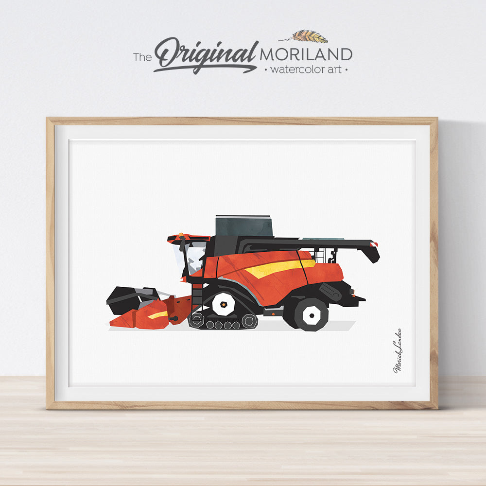 Red Combine Harvester Print - Printable Art for boy bedroom decor