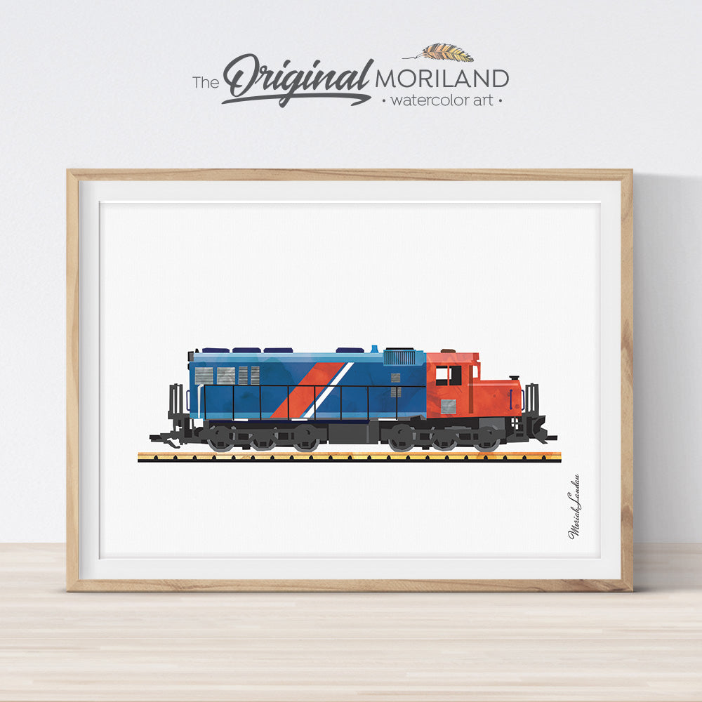 Diesel Locomotive Print, Train Printable, Transportation Decor, Train Nursery Print, Train Decor, Play Room Decor, Railway Wall Art Print