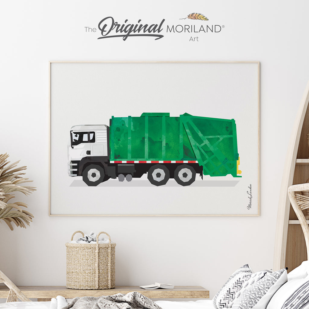 Garbage Truck Fine Art Print for Boy Room Decor