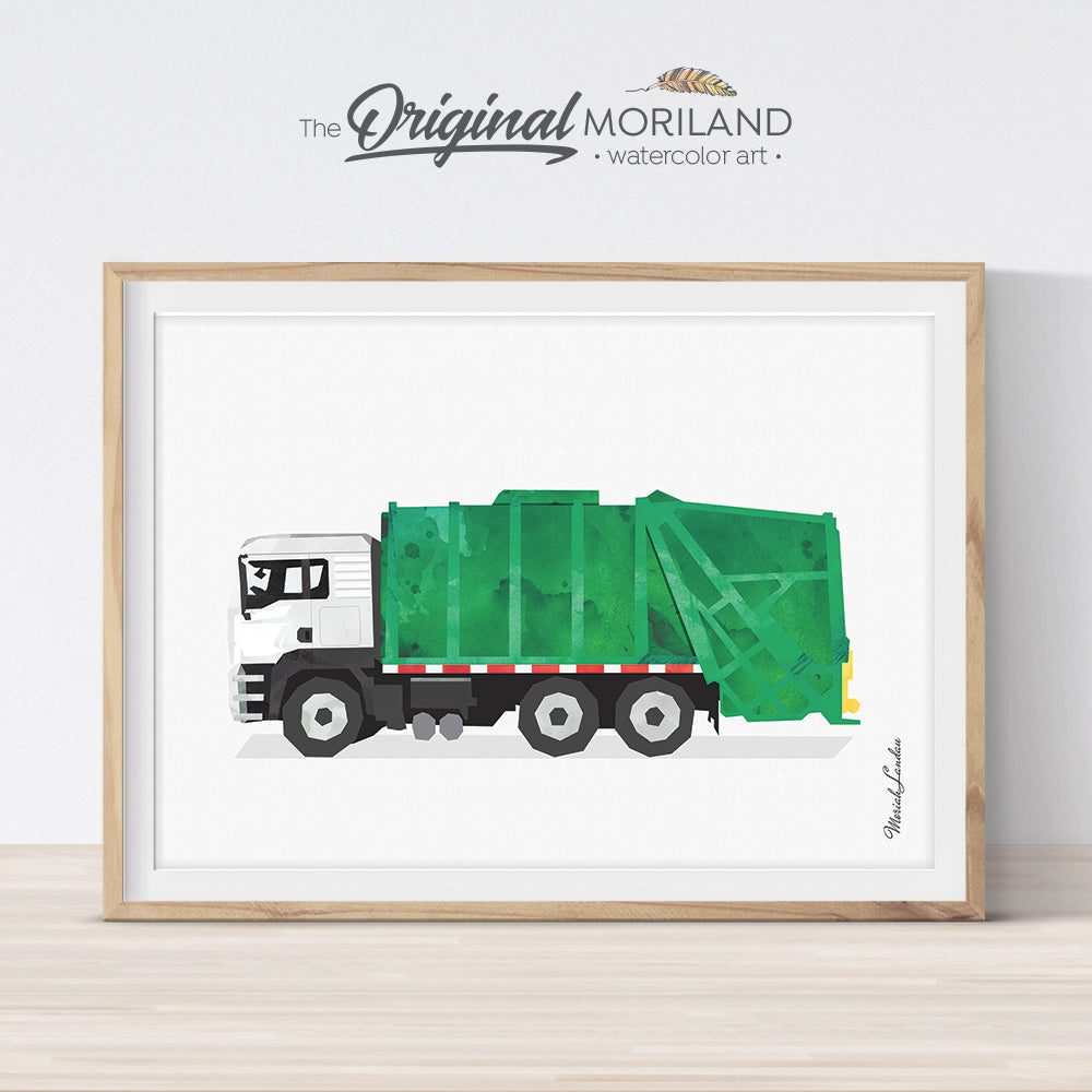 Garbage Truck Print, Garbage Truck Decor, Transportation Wall Art, Garbage Truck Wall Art, Toddler Boy Room Decor, Truck Print, Printable