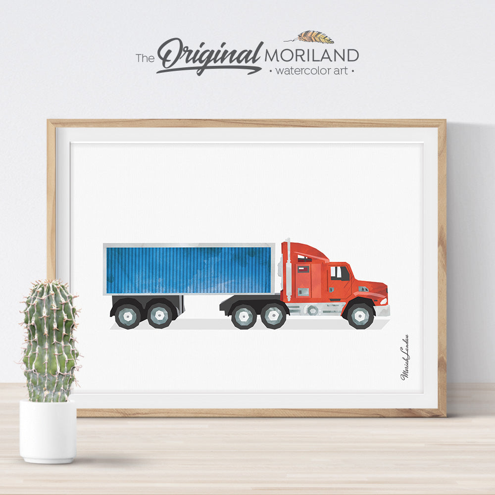 Semi Truck with Container Wall Art for Boys Room Decor