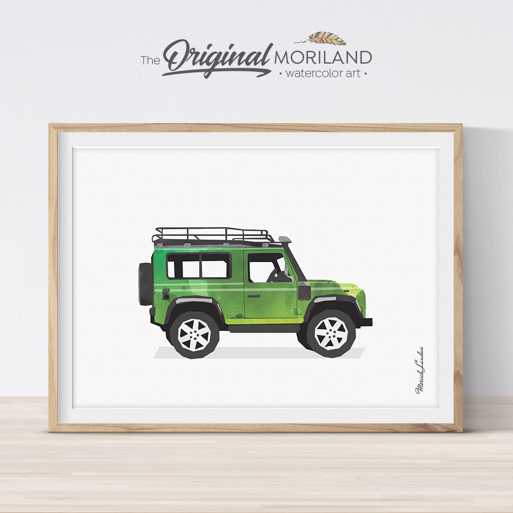Land Rover Print, Land Rover Wall Art, Transportation Decor, Vehicle Printable, Watercolor Decor, Nursery Decor, Automobile Wall Art