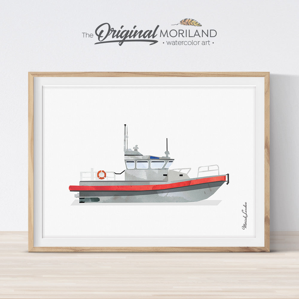 Coast Guard Boat Wall Art for kids bedroom decor