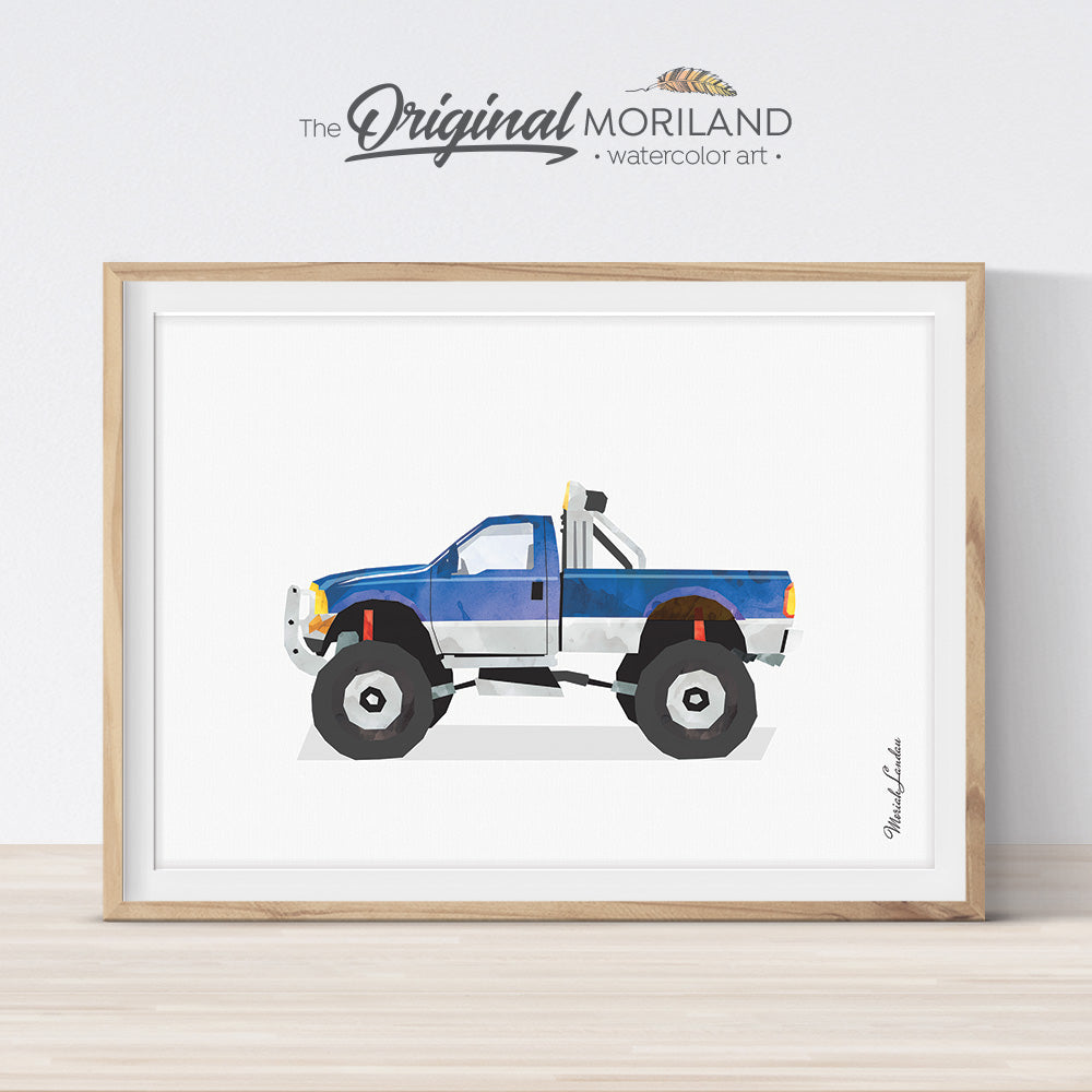 Lifted truck, pickup monster truck wall art print for boy room decor