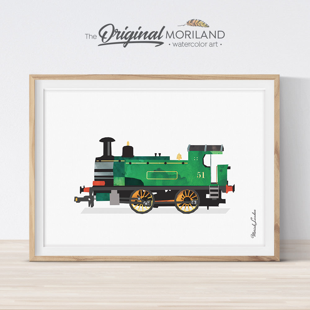 Watercolor train locomotive print for boy room decor by MORILAND