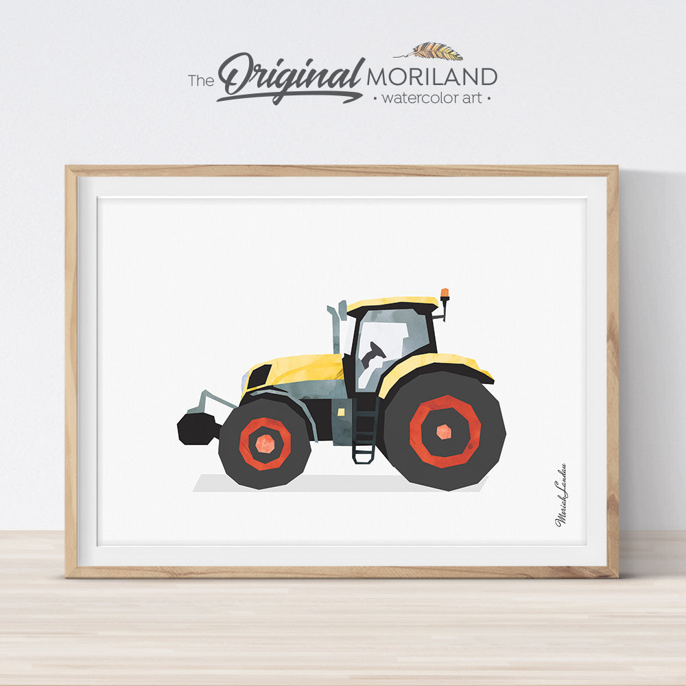 Yellow Tractor Wall Art for Boys Nursery Room Decor