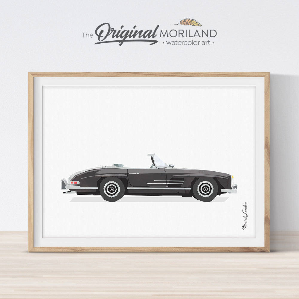 Mercedes Print, Classic Car Art, Vehicle Print, Car Printable Art, Boys Room Decor, Transportation Wall Decor, Mens Office Decor