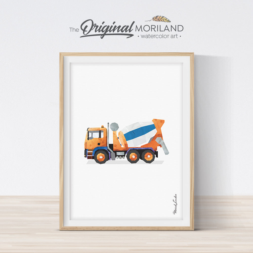 Cement Mixer Truck Vertical Print, Printable Art for boy room and nursery decor