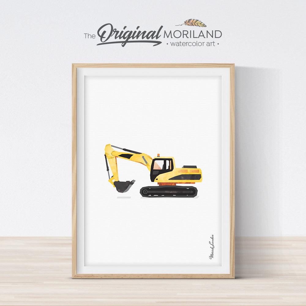 excavator digger construction vehicle print for boy room and nursery decor