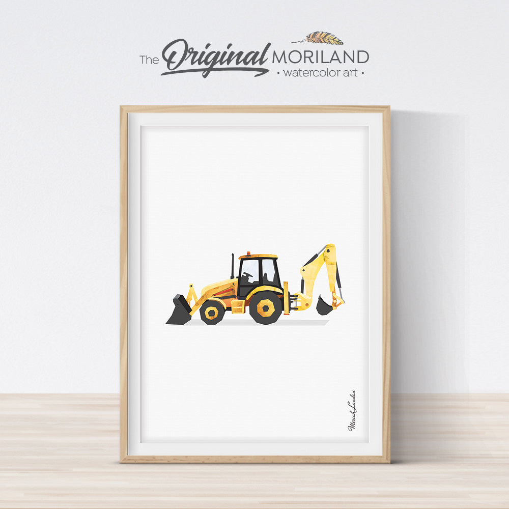 Backhoe Digger Wall Art Print for Toddler Boys Room Decor