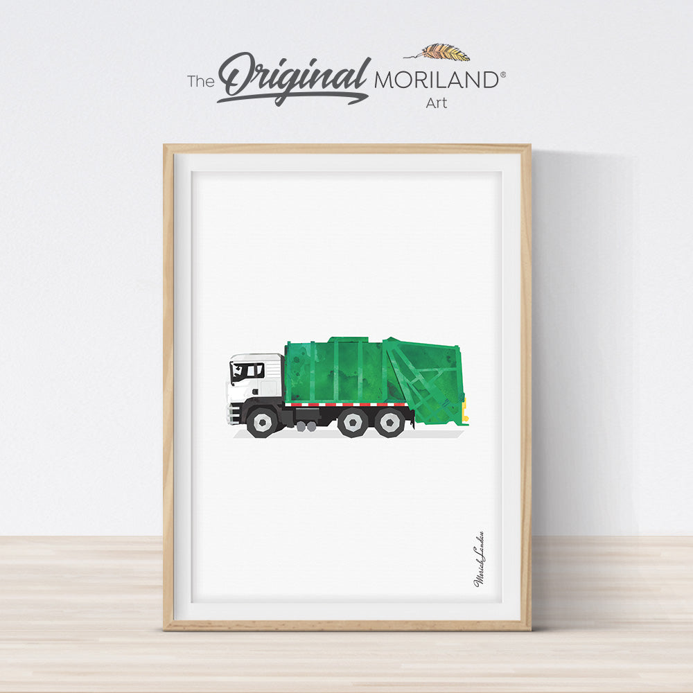 Watercolor Garbage truck print for boy bedroom decor by MORILAND