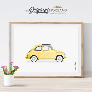 Fiat 500 watercolor Wall Art print for kids room decor