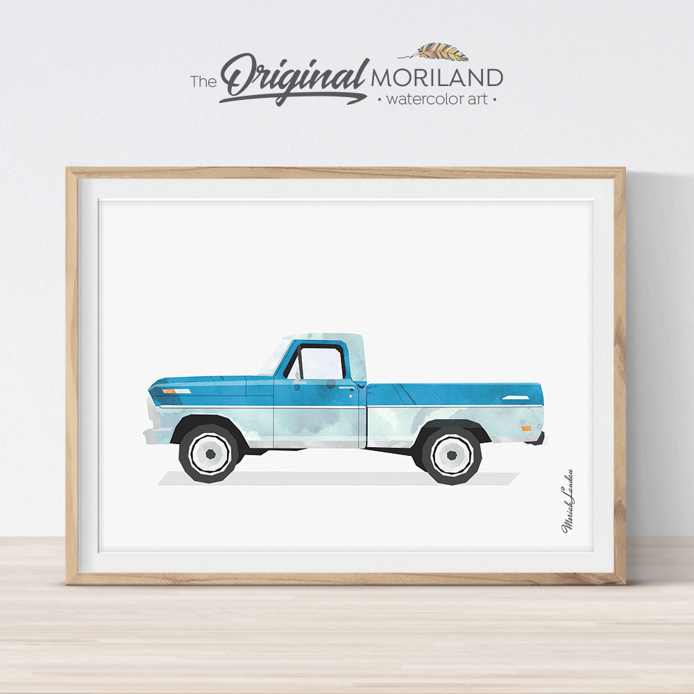 vintage Ford Truck wall art Print for boy room and nursery decor