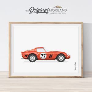 Classic Ferrari wall art print for boy room decor