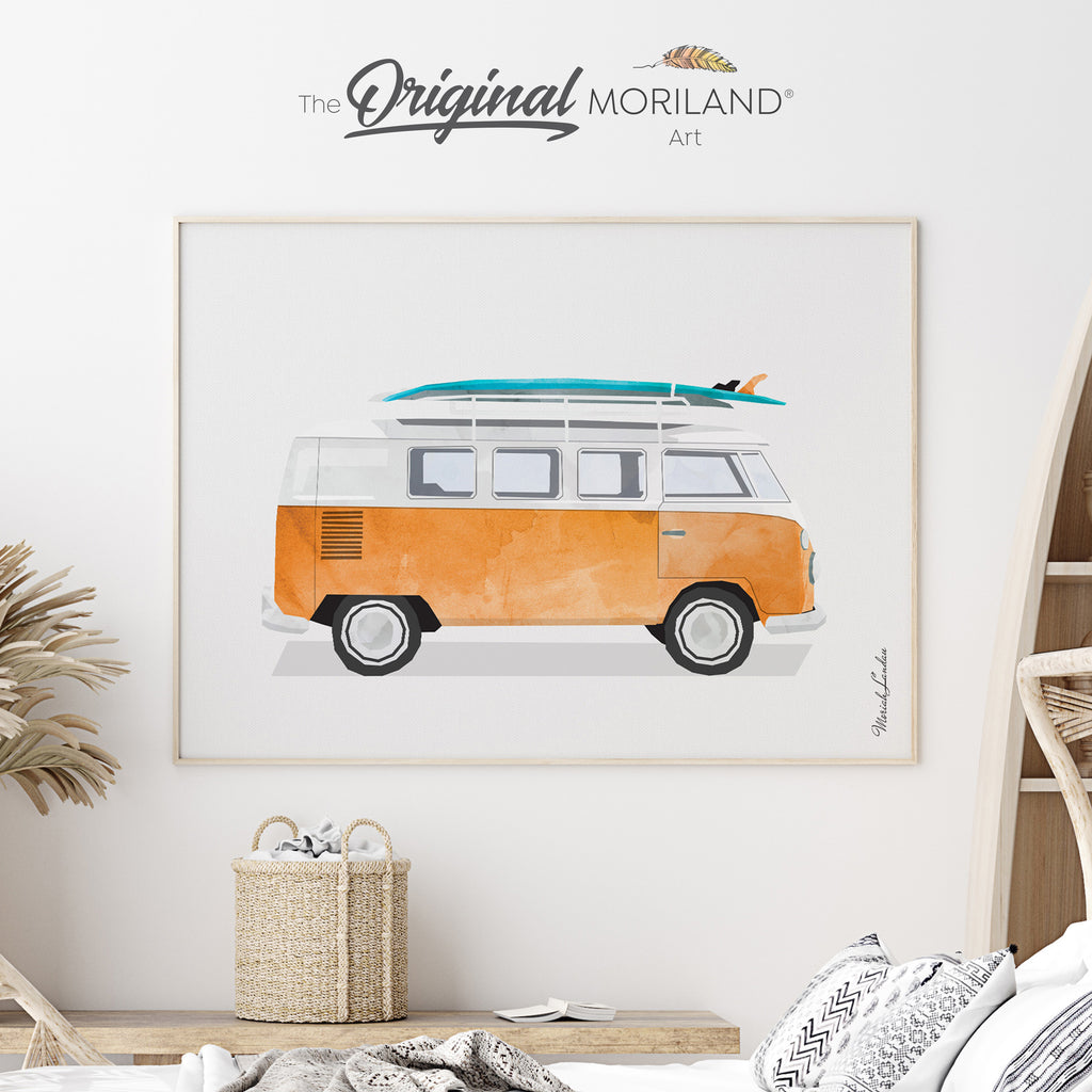 Vintage Van with surfboard Fine Art Print for Boy Room Decor