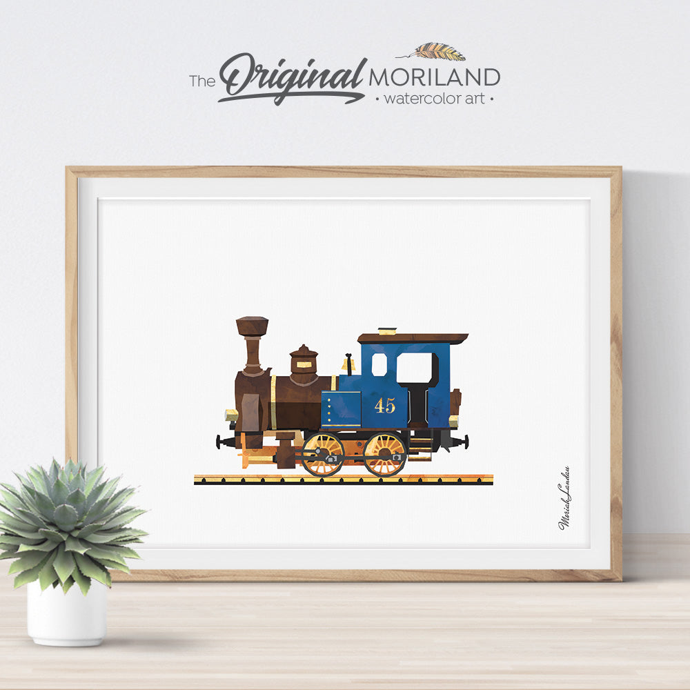 Steam Train Locomotive Watercolor Art for Boy room Decor