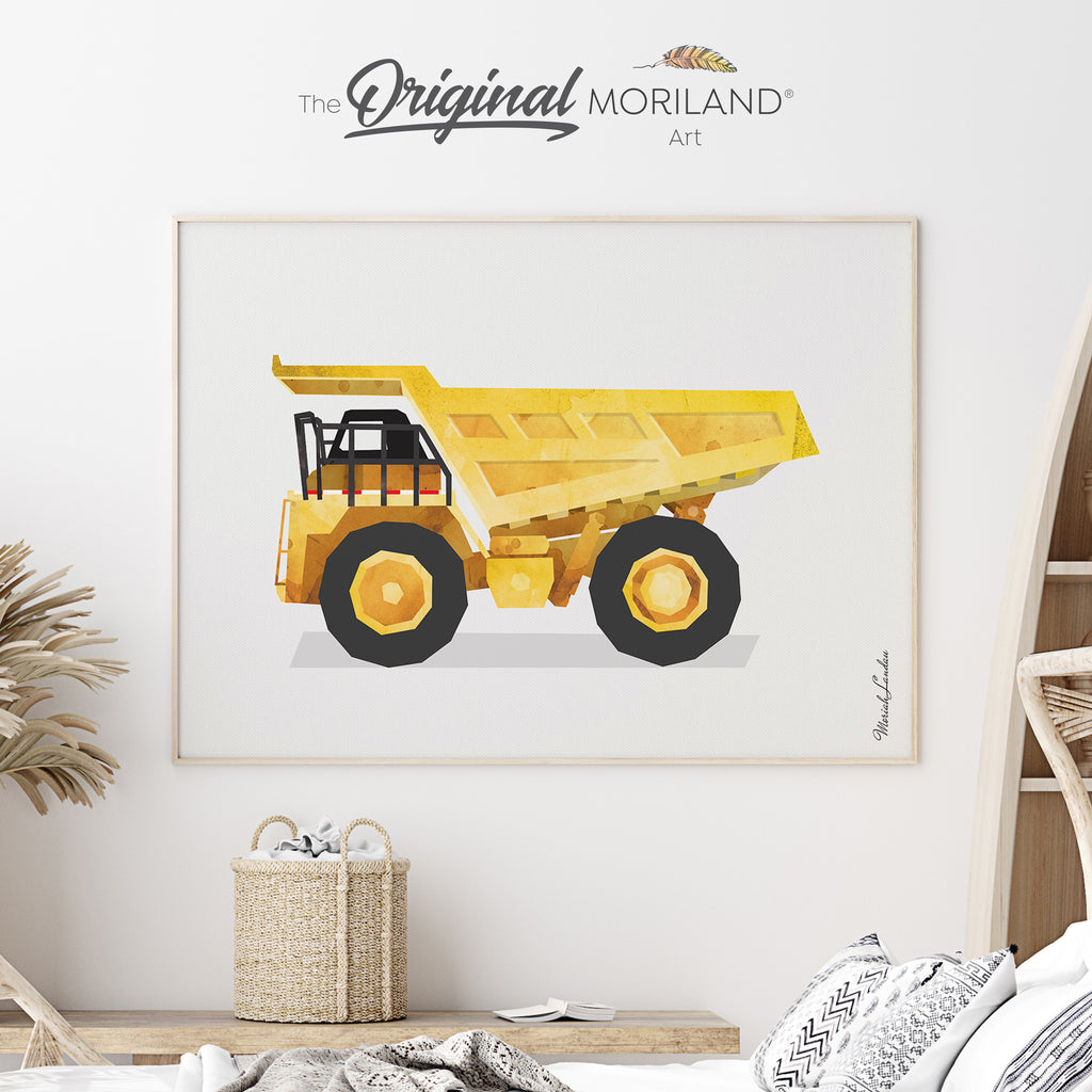 Dump Truck Construction  Fine Art Print for Boy Room Decor