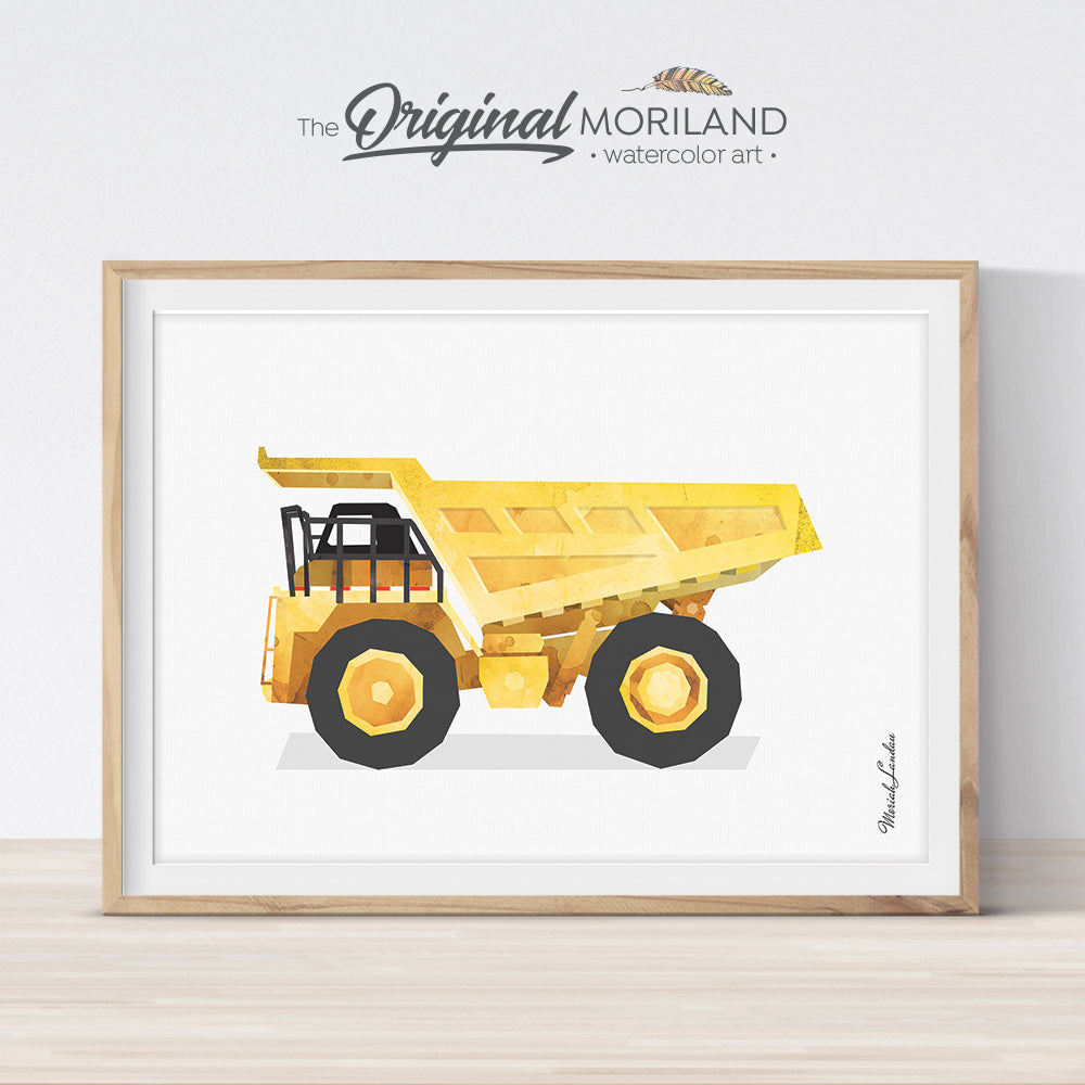 watercolor Dump Truck wall art print for big boy room and nursery decor