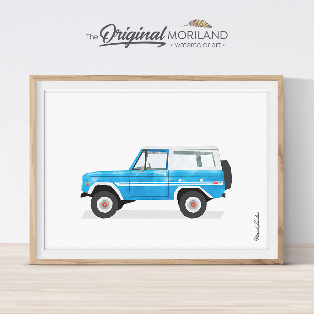 bronco SUV wall art print for boy room decor