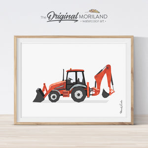 Red Digger Backhoe Wall Art Print for Boys Room Decor