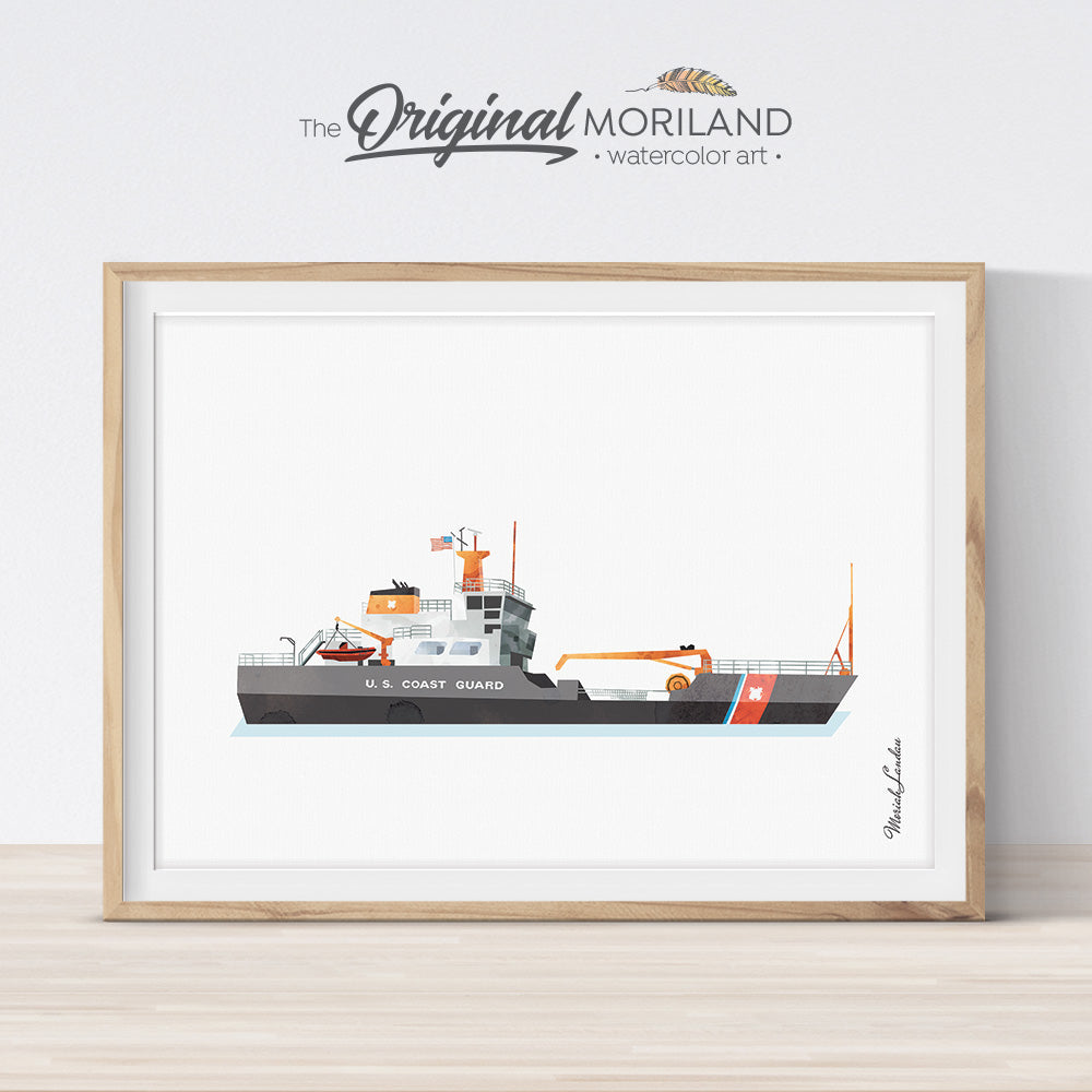Coast Guard Cutter Ship illustration for bedroom decor