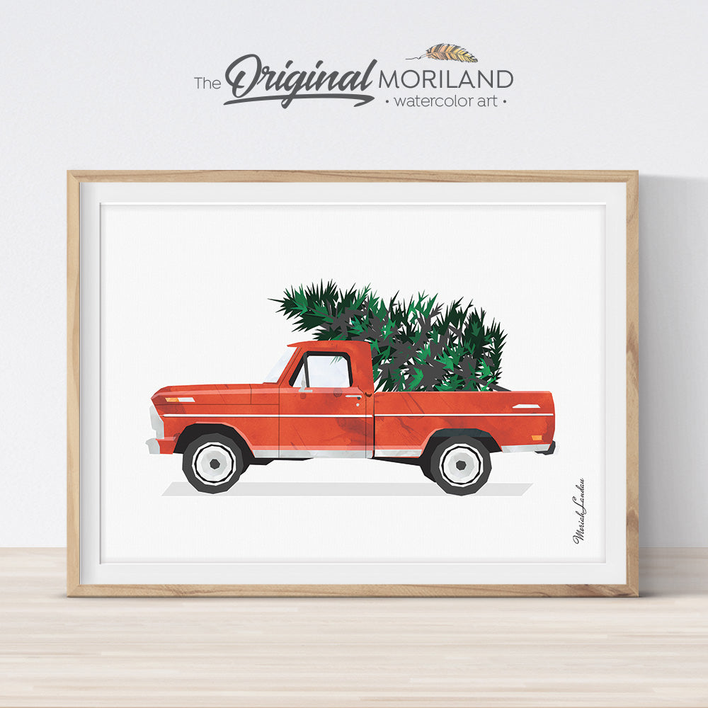 Printable Christmas Truck with tree card, wall art decoration
