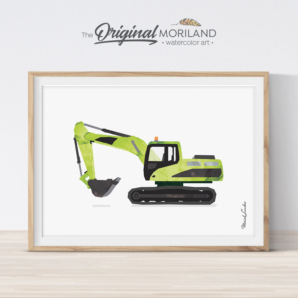 Green watercolor excavator digger wall art print for boy bedroom and nursery decor