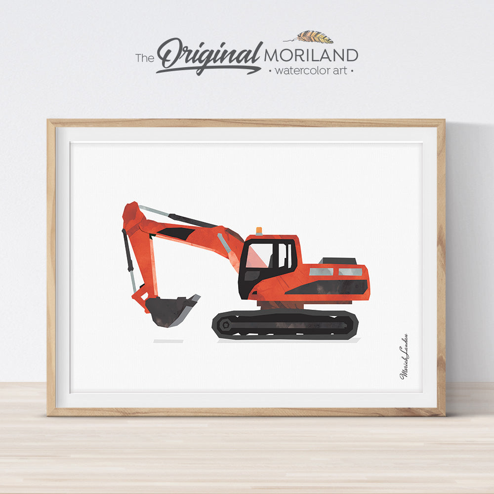 Excavator Digger Wall Art Print for Toddler Boys Room Decor
