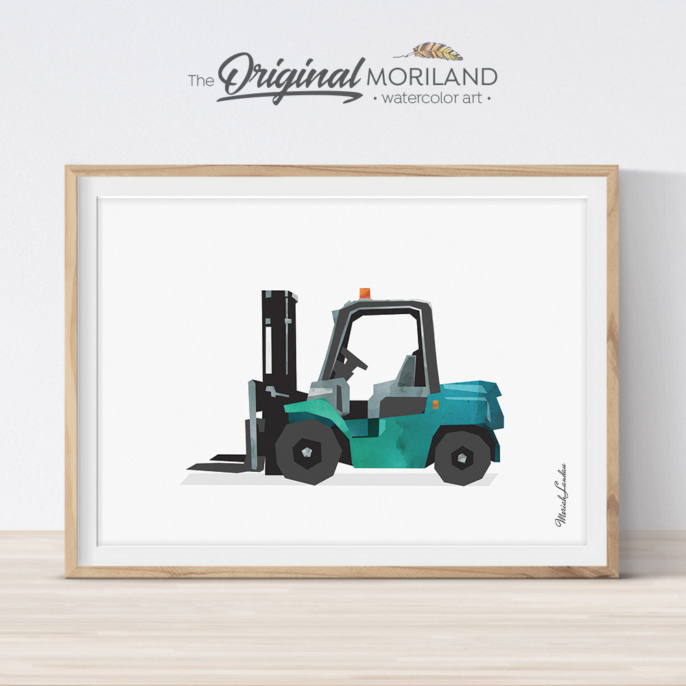 Watercolor green forklift art print for boy room decor by MORILAND